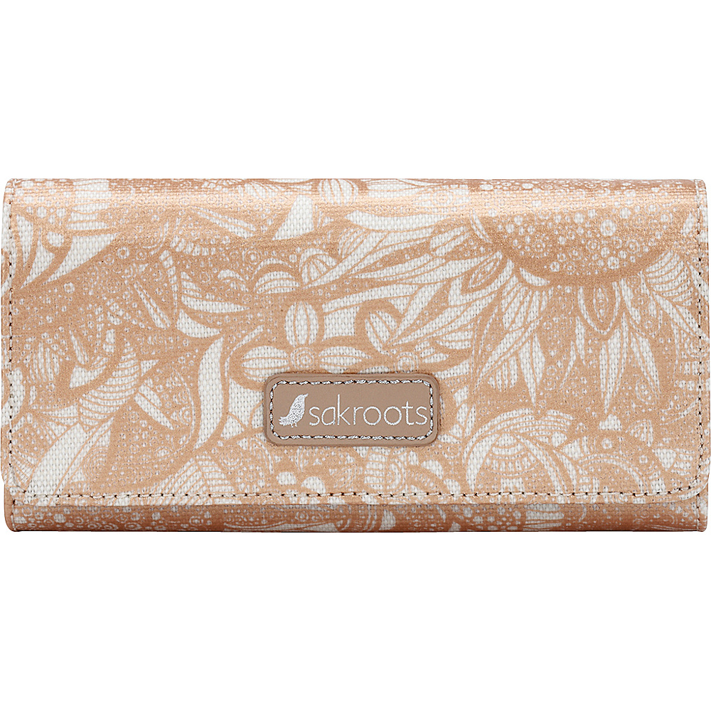 Sakroots Megan Snap RFID Trifold Wallet Rose Gold Spirit Desert - Sakroots Womens Wallets - Women's SLG, Women's Wallets