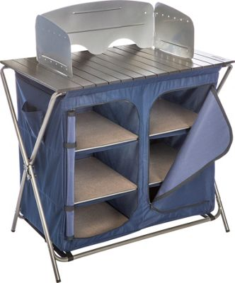Kamp Rite Kwik Pantry with Cook Table Grey/Blue - Kamp Rite Outdoor Accessories