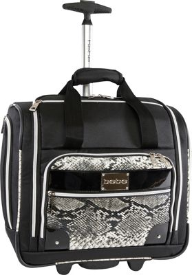 BEBE Tiana Under the Seat Carry-On Rolling Tote Black Snake - BEBE Softside Carry-On