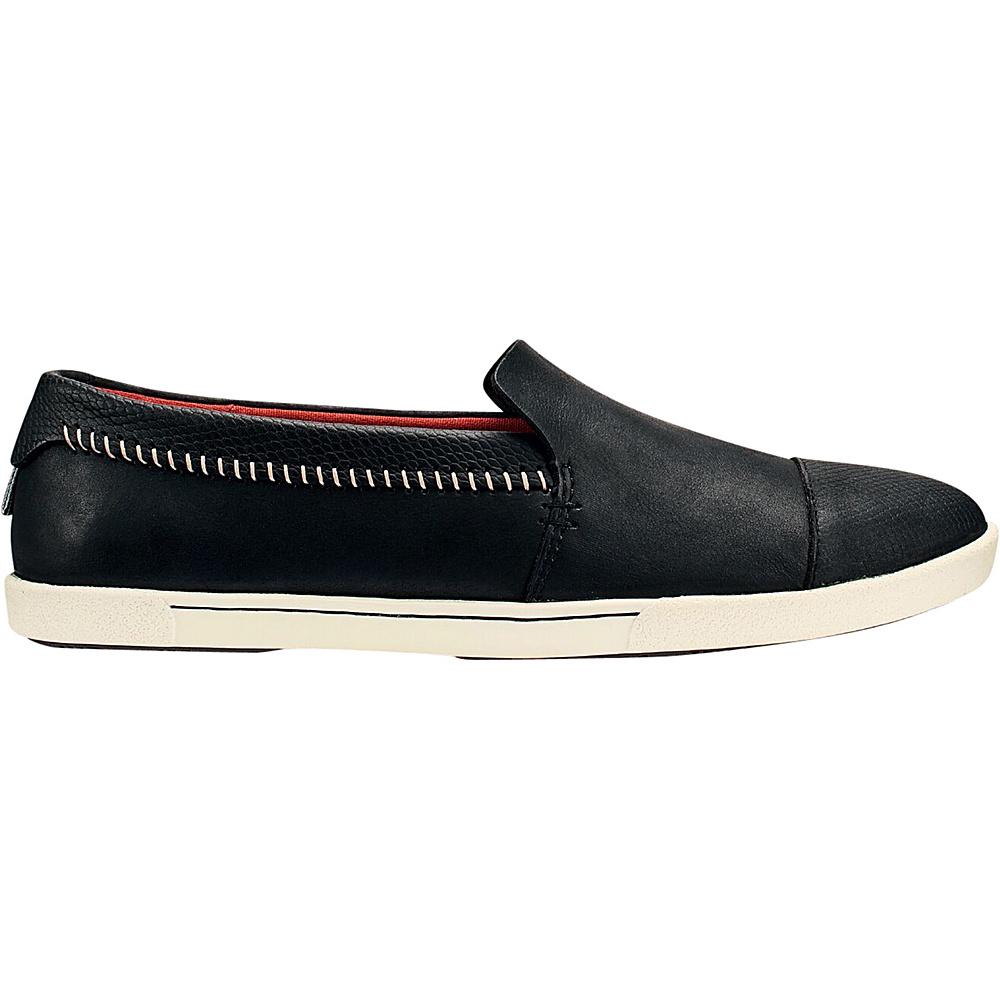 OluKai Womens Alohi Slip-On 6 - Black/Black - OluKai Womens Footwear - Apparel & Footwear, Women's Footwear