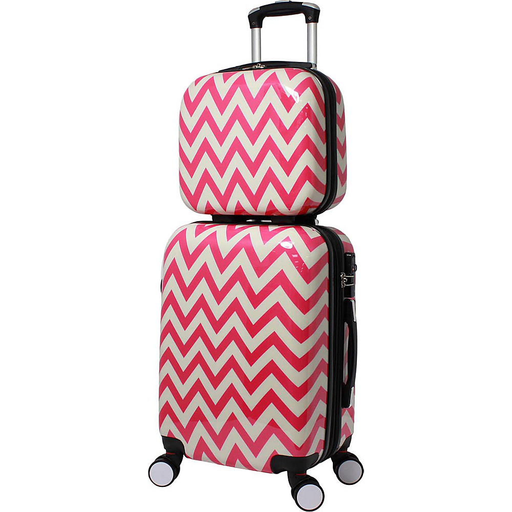 World Traveler Chevron 2-Piece Hardside Carry-on Spinner Luggage Set Pink - World Traveler Luggage Sets - Luggage, Luggage Sets