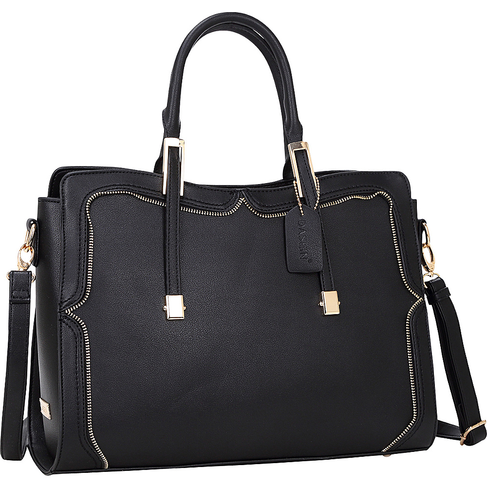 Dasein Womens Satchel with Metal and Zipper Detail Black - Dasein Manmade Handbags - Handbags, Manmade Handbags