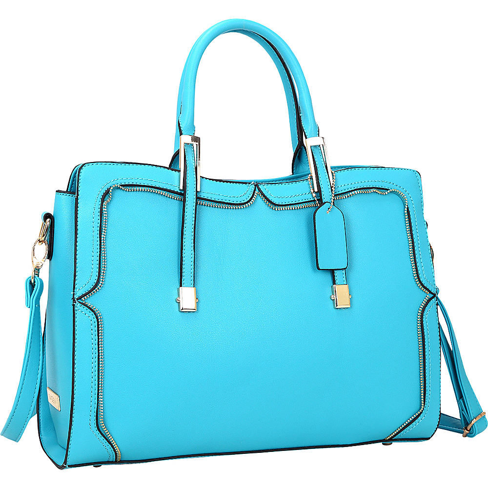 Dasein Womens Satchel with Metal and Zipper Detail Blue - Dasein Manmade Handbags - Handbags, Manmade Handbags