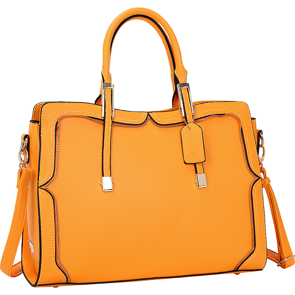 Dasein Womens Satchel with Metal and Zipper Detail Orange - Dasein Manmade Handbags - Handbags, Manmade Handbags
