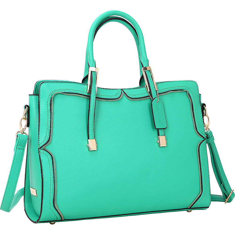 Dasein Womens Satchel with Metal and Zipper Detail Green - Dasein Manmade Handbags - Handbags, Manmade Handbags