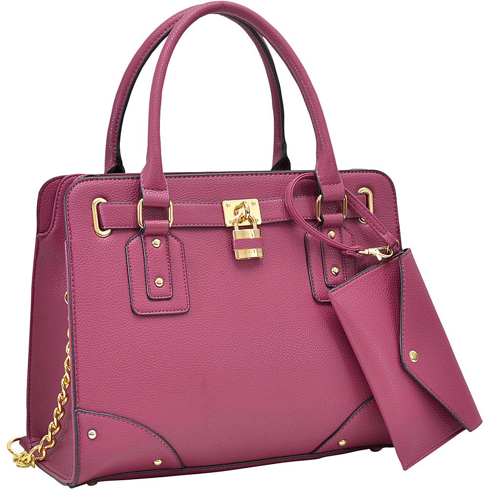 Dasein Padlock Deco Belted Satchel with Matching Wristlet Burgundy - Dasein Manmade Handbags - Handbags, Manmade Handbags