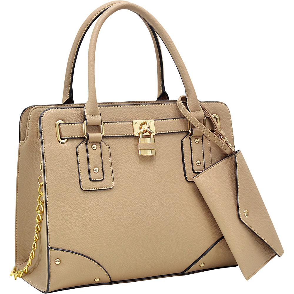 Dasein Padlock Deco Belted Satchel with Matching Wristlet Beige - Dasein Manmade Handbags - Handbags, Manmade Handbags