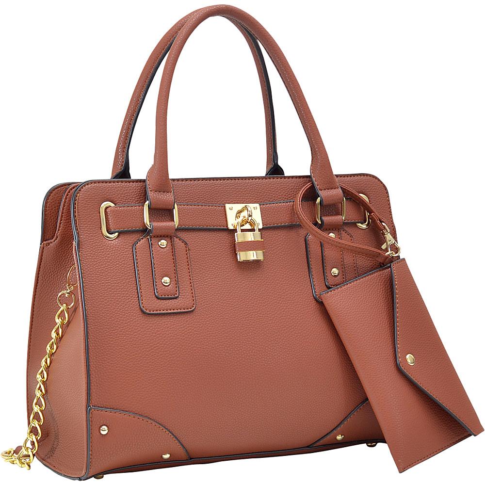 Dasein Padlock Deco Belted Satchel with Matching Wristlet Brown - Dasein Manmade Handbags - Handbags, Manmade Handbags
