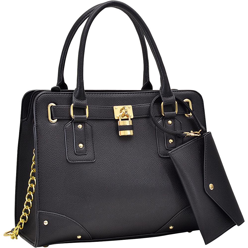 Dasein Padlock Deco Belted Satchel with Matching Wristlet Black - Dasein Manmade Handbags - Handbags, Manmade Handbags
