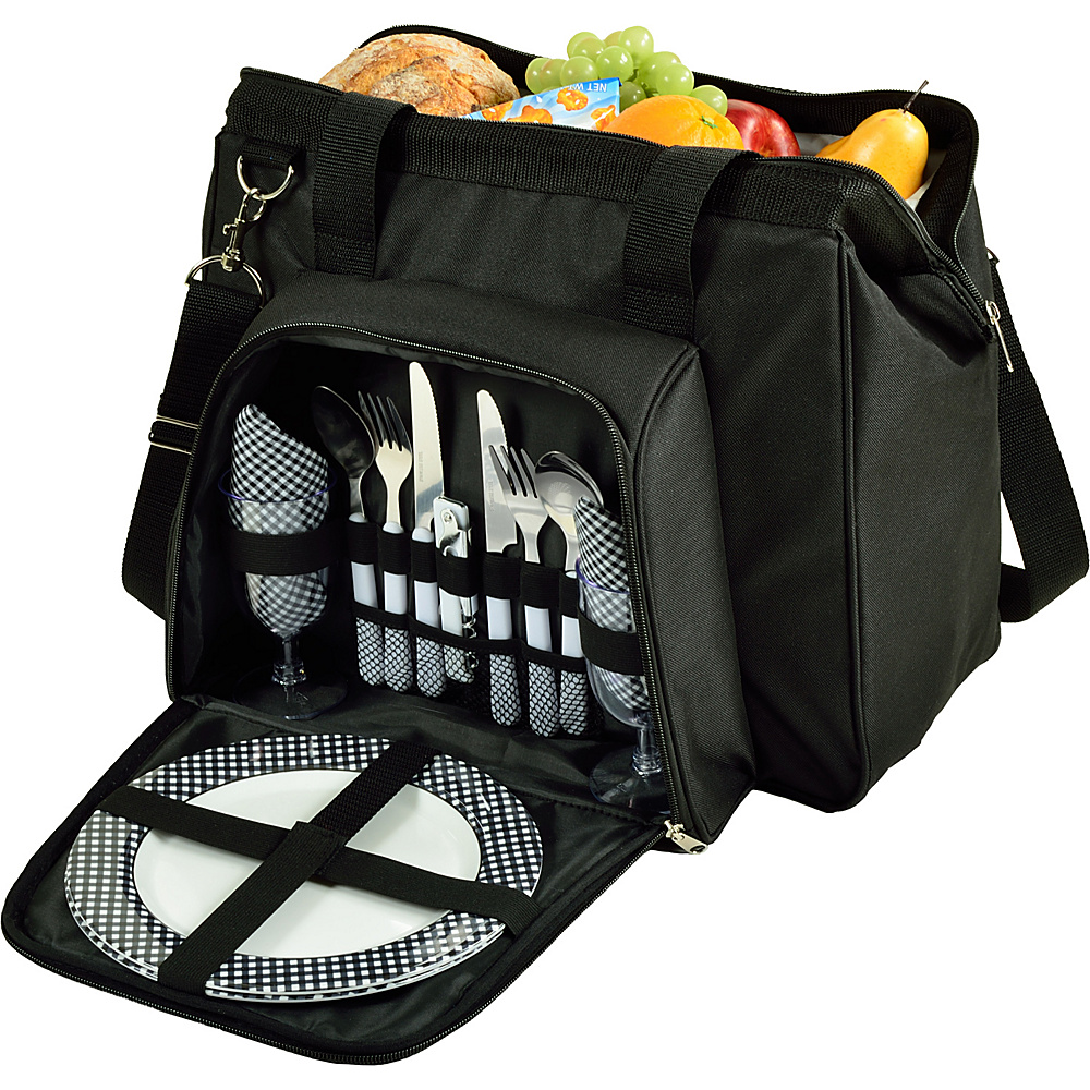 Picnic at Ascot City Picnic Cooler Equipped for Two Black/Gingham - Picnic at Ascot Travel Coolers - Travel Accessories, Travel Coolers
