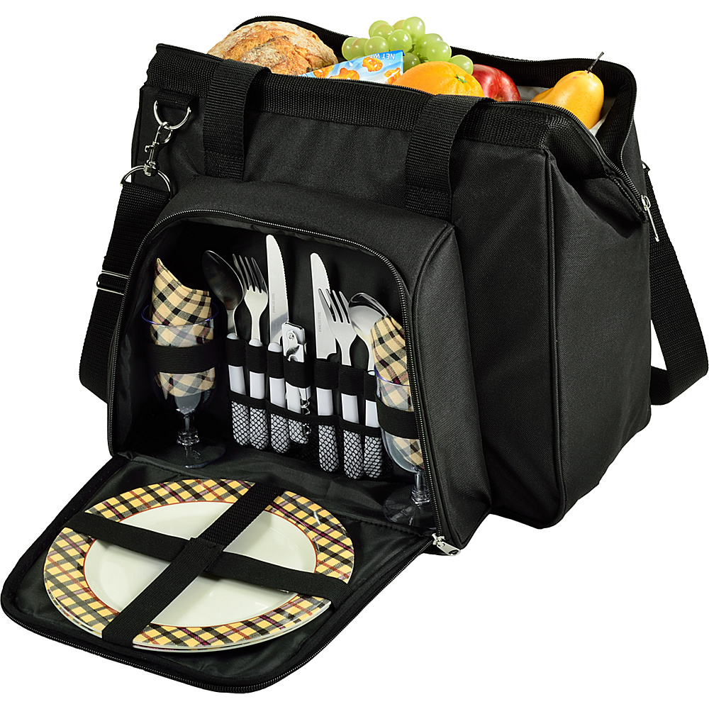 Picnic at Ascot City Picnic Cooler Equipped for Two Black/Plaid - Picnic at Ascot Travel Coolers - Travel Accessories, Travel Coolers