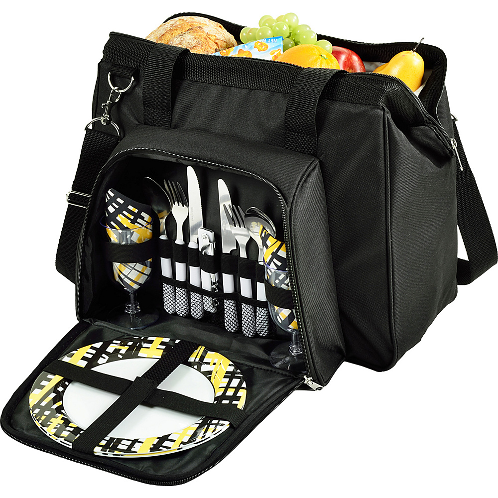 Picnic at Ascot City Picnic Cooler Equipped for Two Black with Paris - Picnic at Ascot Travel Coolers - Travel Accessories, Travel Coolers