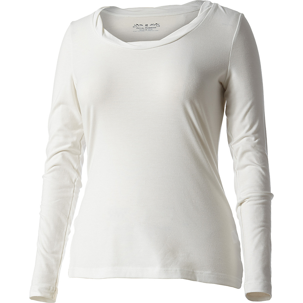 Royal Robbins Womens Essential Tencel Twist Crew Long Sleeve S - Creme - Royal Robbins Womens Apparel - Apparel & Footwear, Women's Apparel