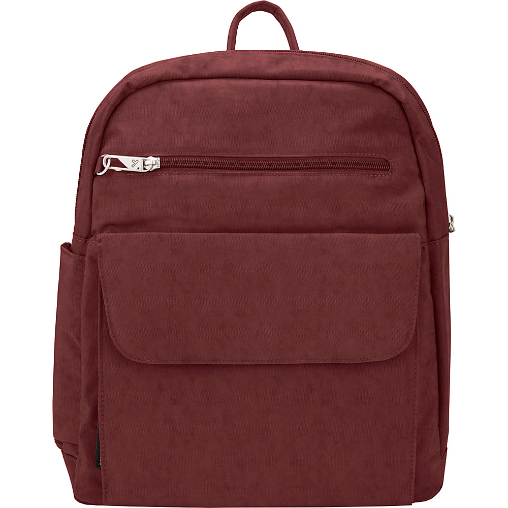 Travelon Anti-Theft Essential Crinkle Essential Backpack - Exclusive Burgundy/Black Flower Lining - Travelon Fabric Handbags - Handbags, Fabric Handbags
