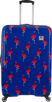 Revelation Maluku BQ Max 31 inch Expandable Hardside Checked Spinner Luggage Navy Flamingos - Revelation Large Rolling Luggage