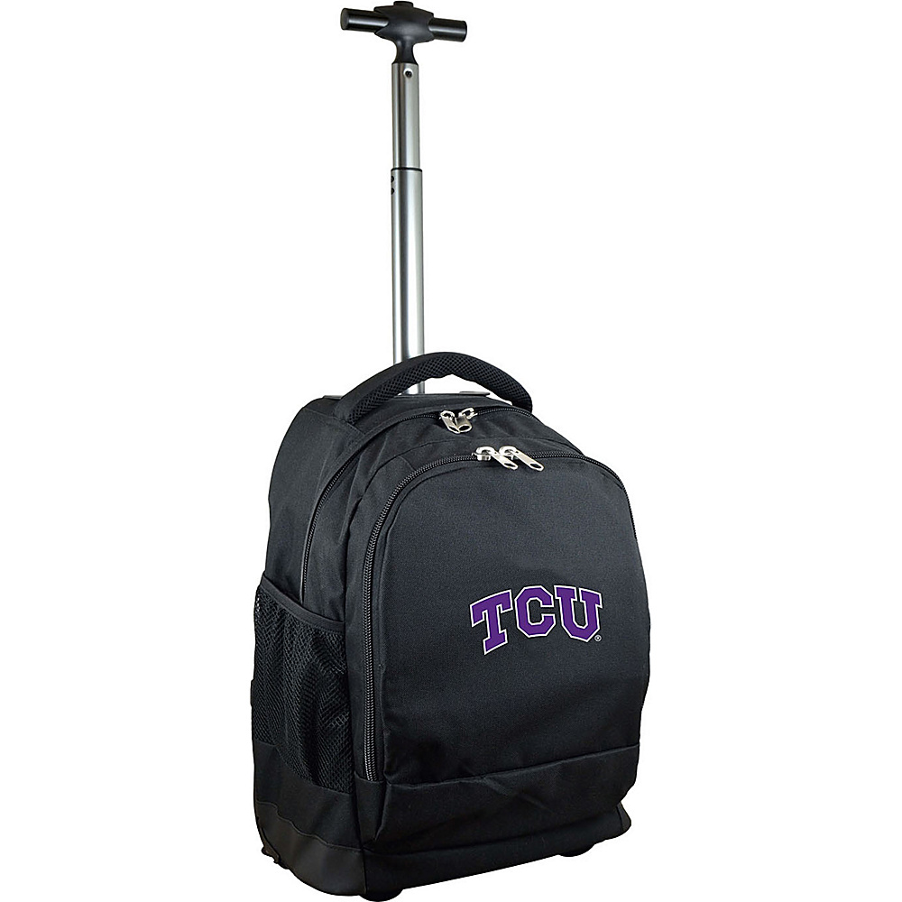 MOJO Denco College NCAA Premium Laptop Rolling Backpack Texas Christian - MOJO Denco Rolling Backpacks - Backpacks, Rolling Backpacks