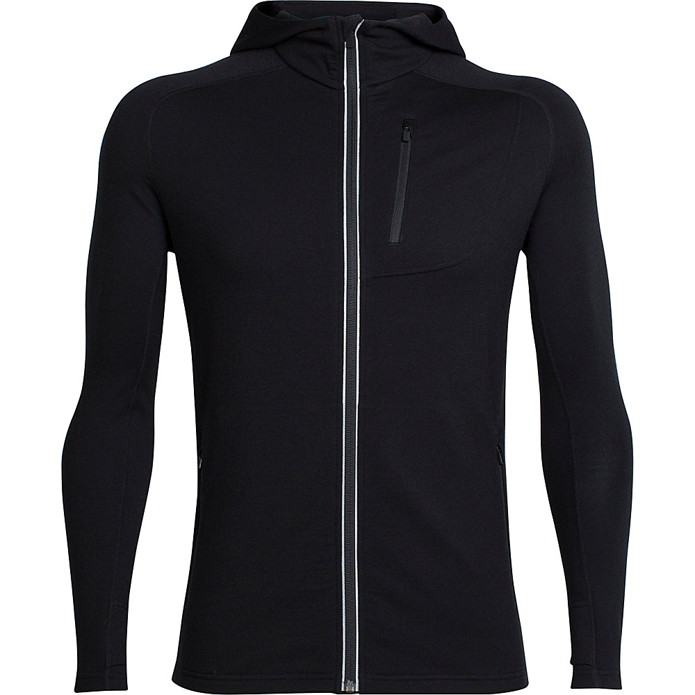 Icebreaker Mens Quantum Long Sleeve Zip Hood L - Black - Icebreaker Mens Apparel - Apparel & Footwear, Men's Apparel