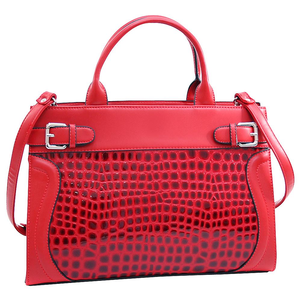 Dasein Belted Patent Croco Chic Tote with Bonus Strap Red - Dasein Manmade Handbags - Handbags, Manmade Handbags