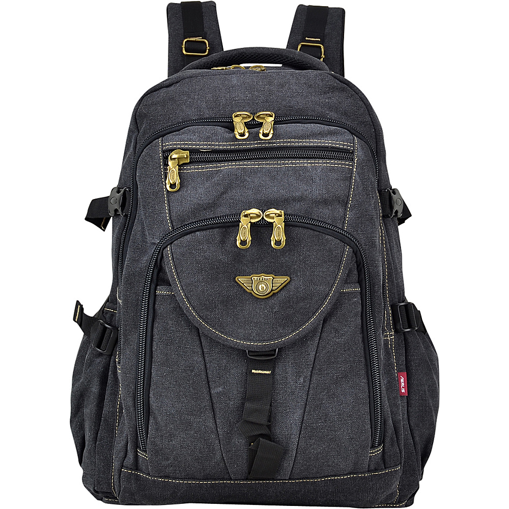 Dasein Outdoor Vintage Canvas Laptop Backpack Black - Dasein Business & Laptop Backpacks - Backpacks, Business & Laptop Backpacks