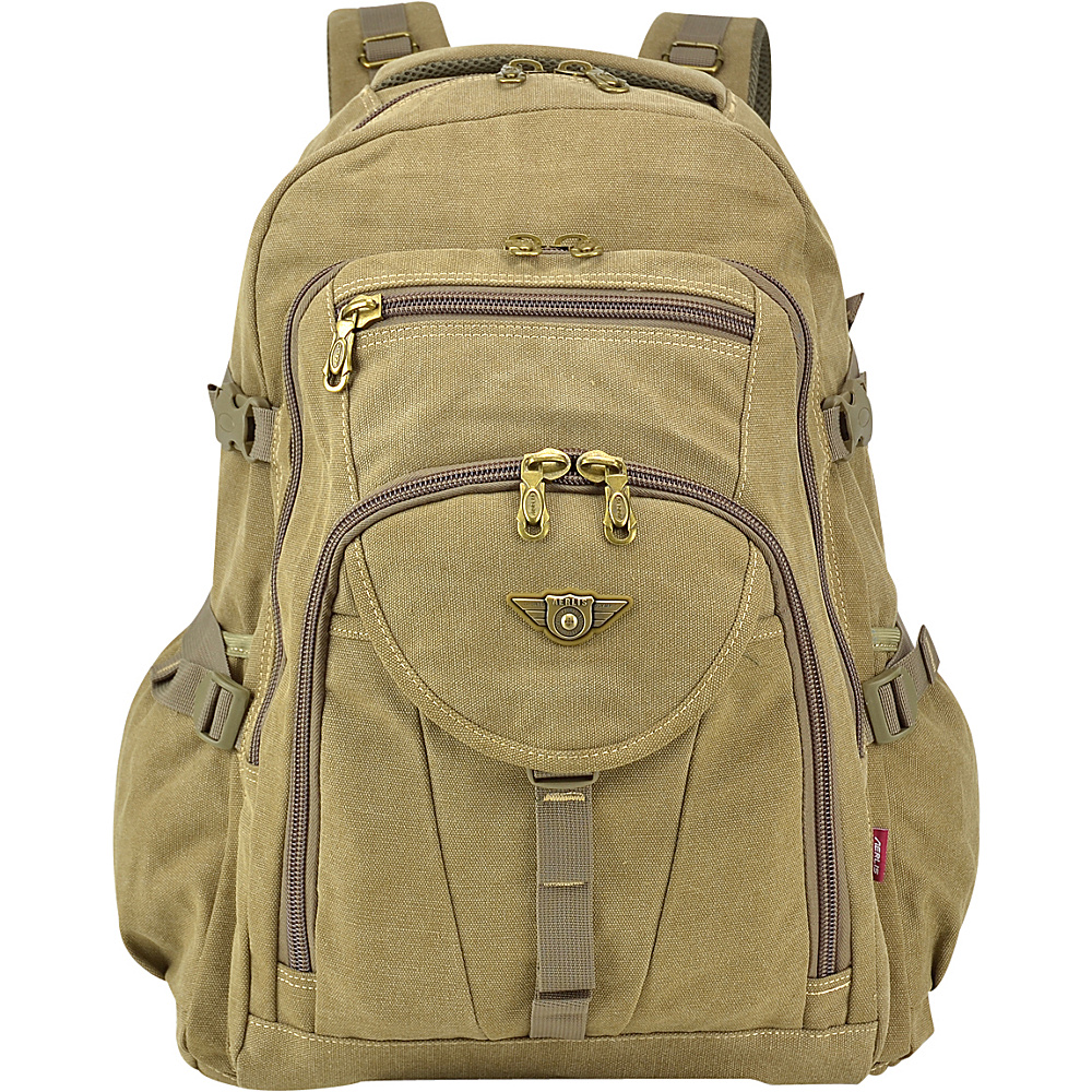 Dasein Outdoor Vintage Canvas Laptop Backpack Tan - Dasein Business & Laptop Backpacks - Backpacks, Business & Laptop Backpacks