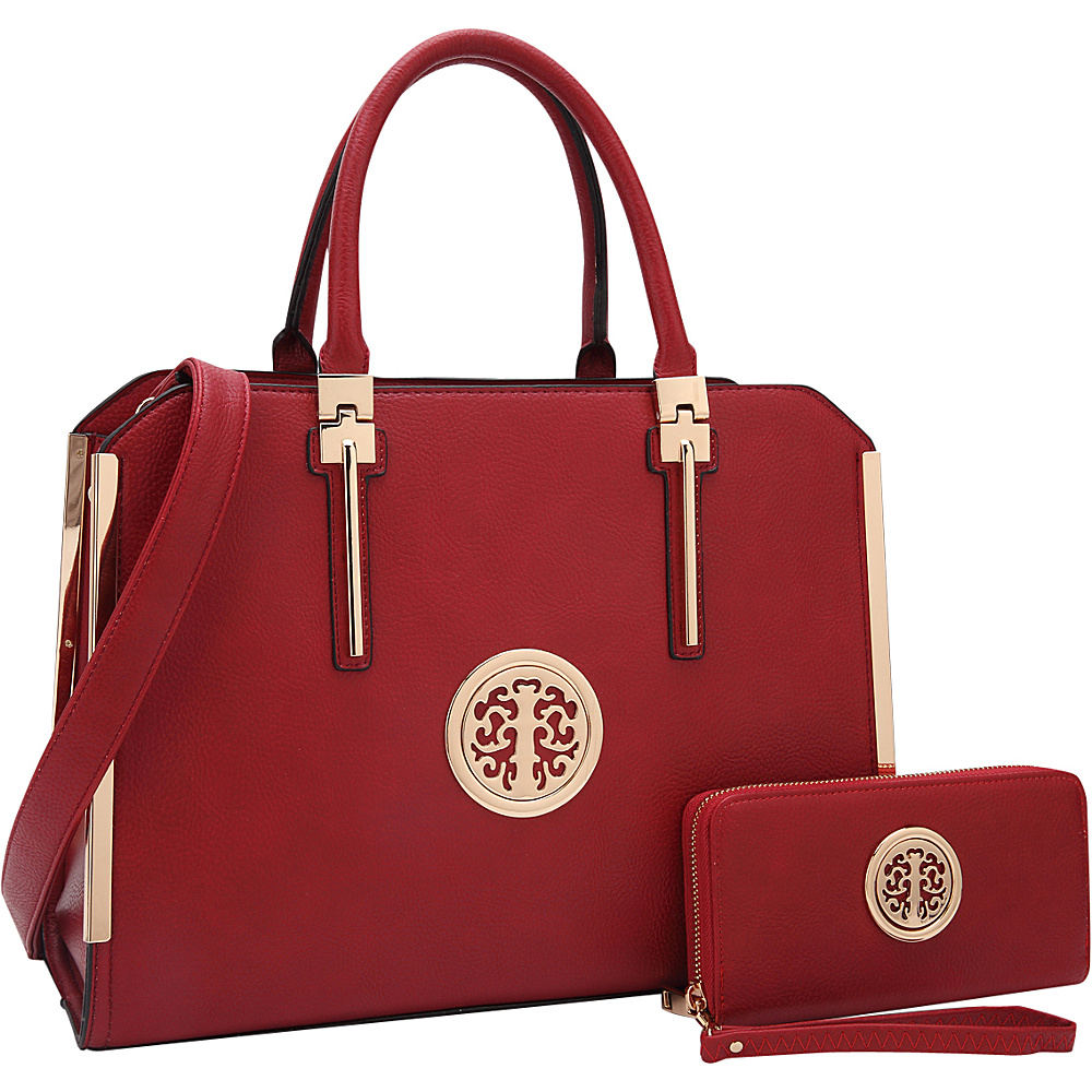 Dasein Simply Classic Briefcase with Matching Wallet Burgundy - Dasein Non-Wheeled Business Cases - Work Bags & Briefcases, Non-Wheeled Business Cases