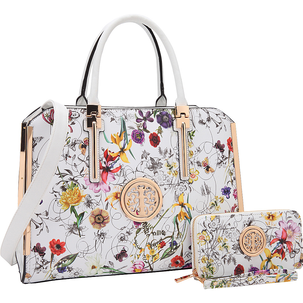 Dasein Simply Classic Briefcase with Matching Wallet White Flower - Dasein Non-Wheeled Business Cases - Work Bags & Briefcases, Non-Wheeled Business Cases