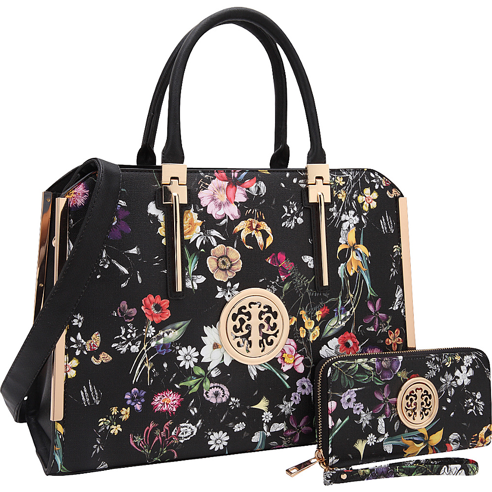 Dasein Simply Classic Briefcase with Matching Wallet Black Flower - Dasein Non-Wheeled Business Cases - Work Bags & Briefcases, Non-Wheeled Business Cases