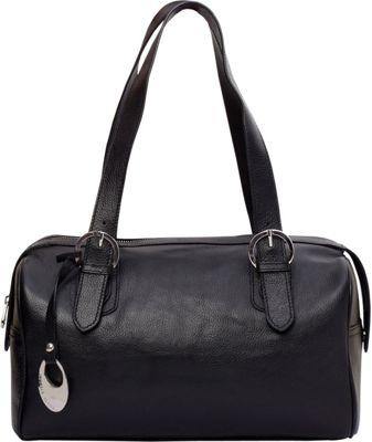 Phive Rivers Top Zip Double Handle Satchel Black - Phive Rivers Leather Handbags