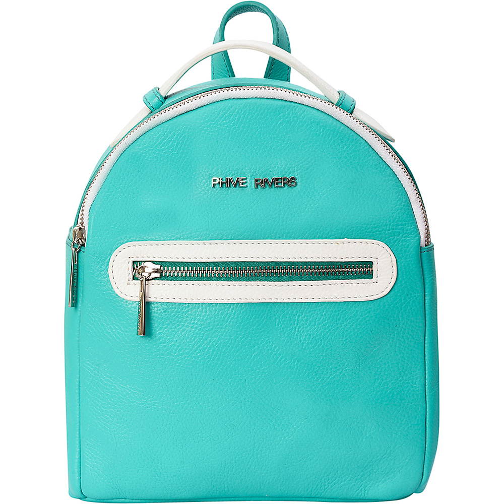 Phive Rivers Colorblock Leather Backpack Seagreen - Phive Rivers Leather Handbags
