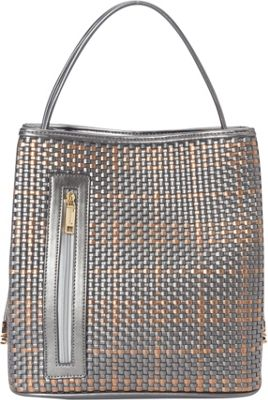Samoe Classic Convertible Shoulder Bag Pewter and Rose Gold Woven/Pewter - Samoe Manmade Handbags