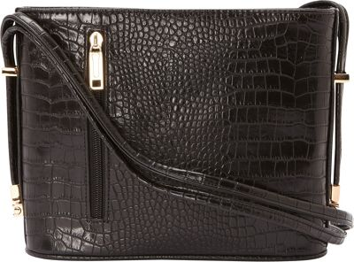 Samoe Convertible Crossbody Black Croco/Black - Samoe Manmade Handbags