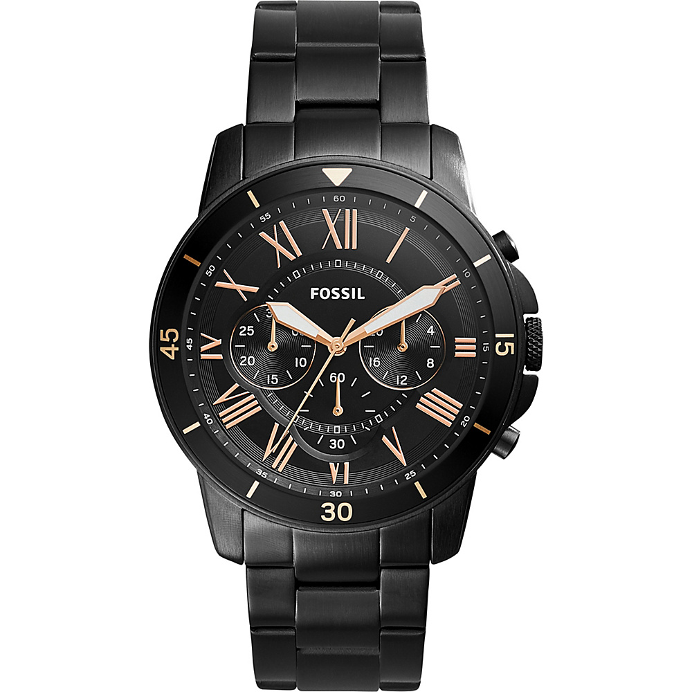 Fossil Grant Sport Chronograph Stainless Steel Watch Black - Fossil Watches - Fashion Accessories, Watches