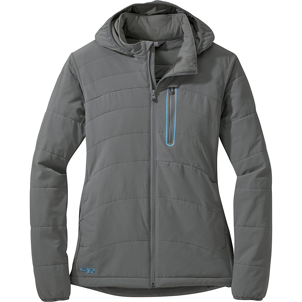 Outdoor Research Womens Ferrosi Hoody Jacket L - Pewter/Typhoon - Outdoor Research Womens Apparel - Apparel & Footwear, Women's Apparel