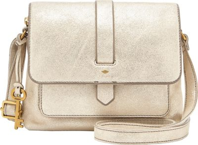 Fossil Kinley Small Crossbody Pale Gold Metallic - Fossil Leather Handbags