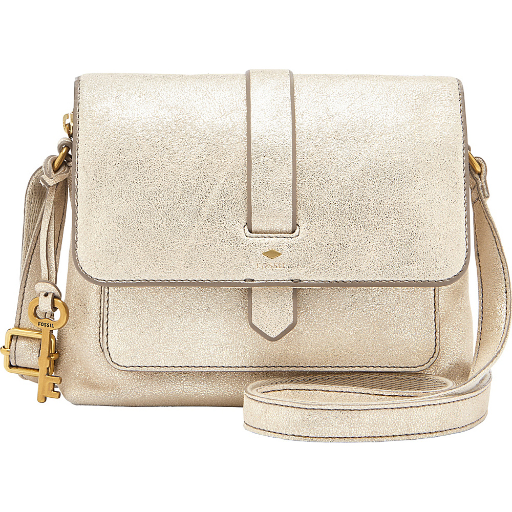 Fossil Kinley Small Crossbody Pale Gold Metallic - Fossil Leather Handbags - Handbags, Leather Handbags