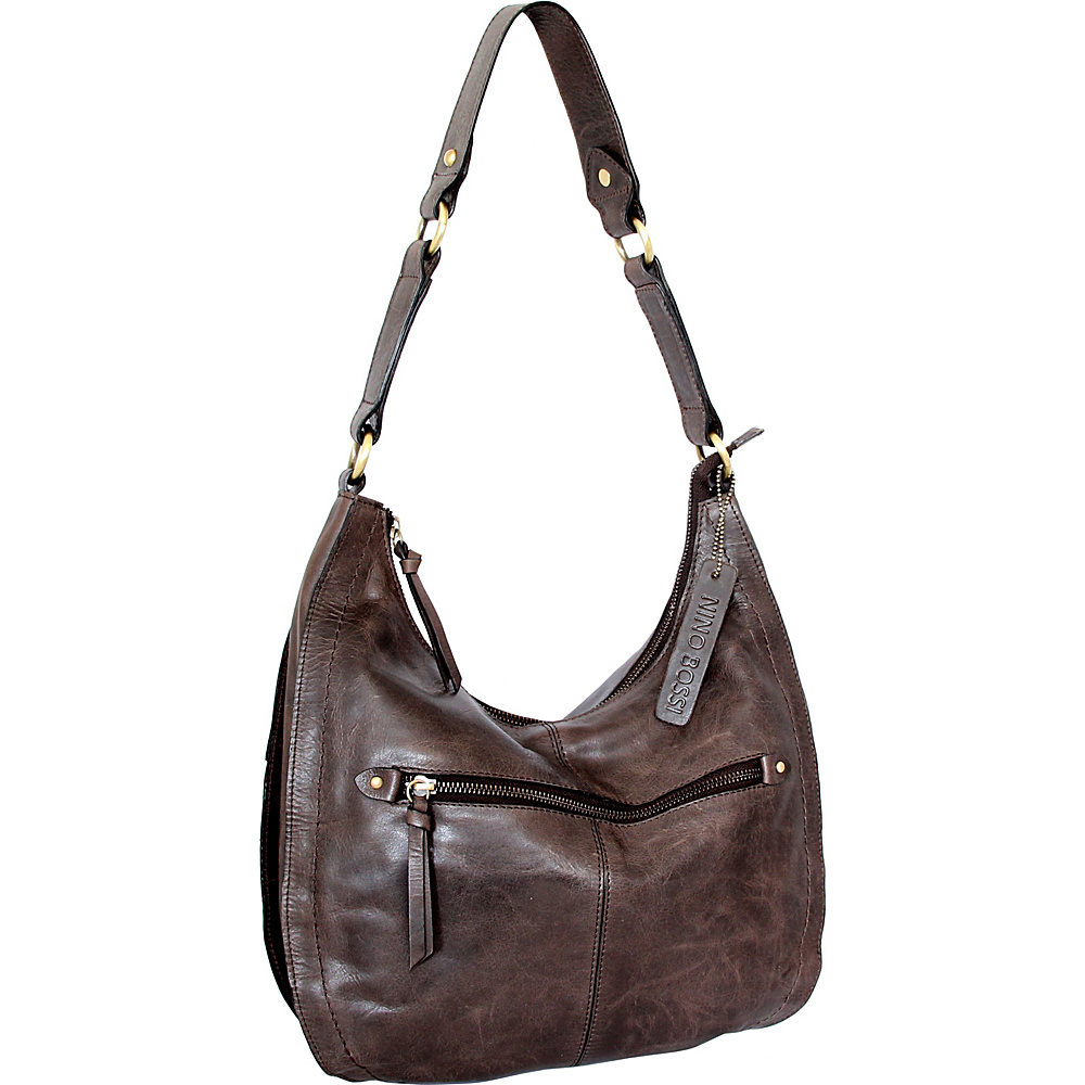 Nino Bossi Delina Hobo Chocolate - Nino Bossi Leather Handbags - Handbags, Leather Handbags