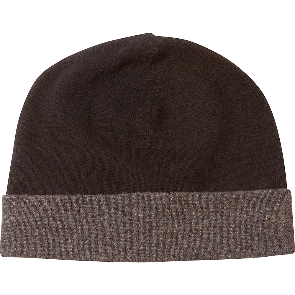 Kinross Cashmere Reversible Hat One Size - Black/Charcoal - Kinross Cashmere Hats/Gloves/Scarves - Fashion Accessories, Hats/Gloves/Scarves
