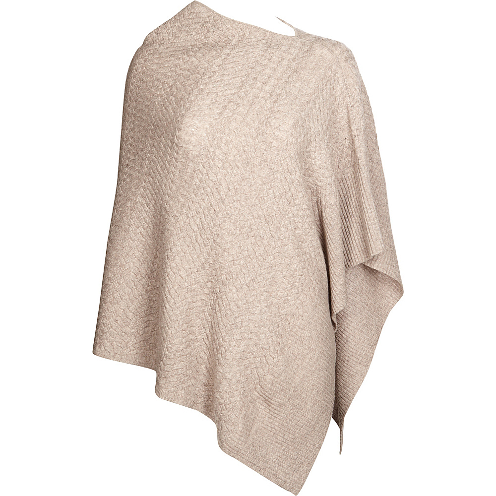 Kinross Cashmere Cable Drape Poncho One Size  - Antler - Kinross Cashmere Womens Apparel - Apparel & Footwear, Women's Apparel