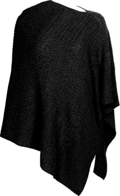 Kinross Cashmere Cable Drape Poncho One Size  - Black - Kinross Cashmere Women's Apparel