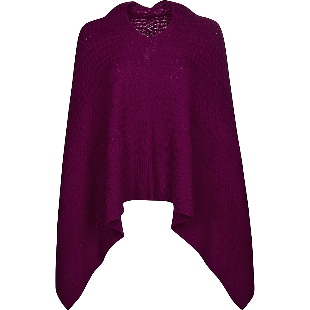 Kinross Cashmere Cable Drape Poncho One Size  - Cassis - Kinross Cashmere Womens Apparel - Apparel & Footwear, Women's Apparel