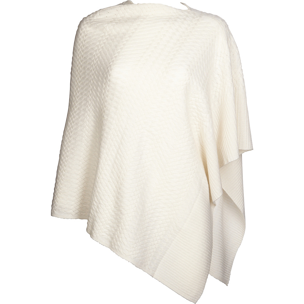 Kinross Cashmere Cable Drape Poncho One Size  - Ivory - Kinross Cashmere Womens Apparel - Apparel & Footwear, Women's Apparel