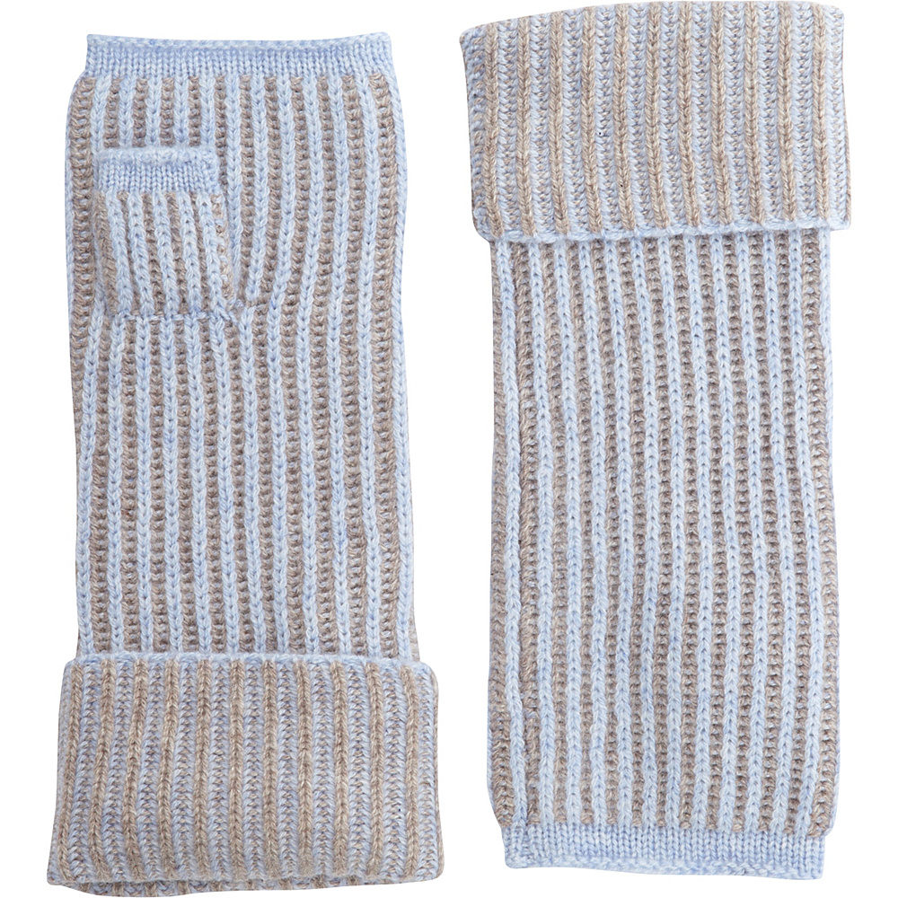 Kinross Cashmere Plaited Rib Texting Glove One Size - Ceil/Antler - Kinross Cashmere Hats/Gloves/Scarves - Fashion Accessories, Hats/Gloves/Scarves