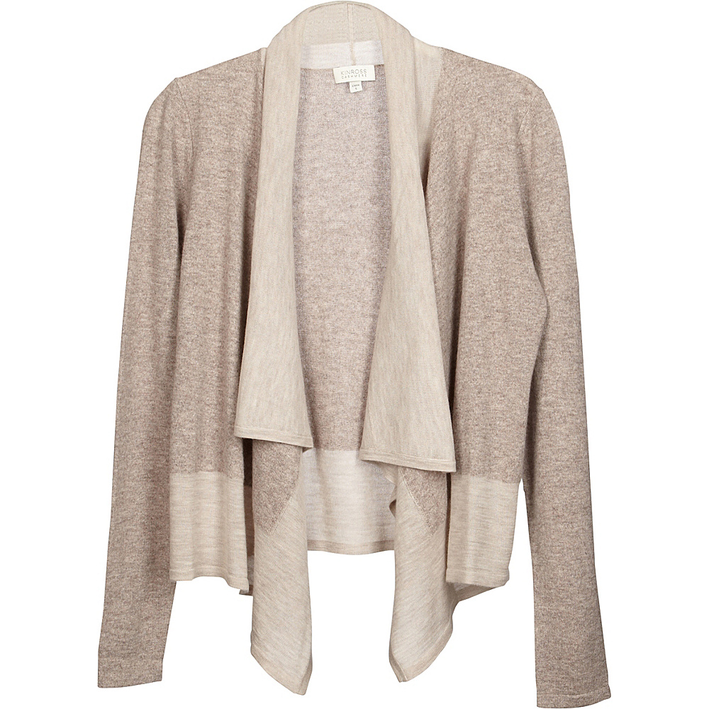 Kinross Cashmere Mixed Yarn Drape Cardigan L - Antler/Fawn - Kinross Cashmere Womens Apparel - Apparel & Footwear, Women's Apparel