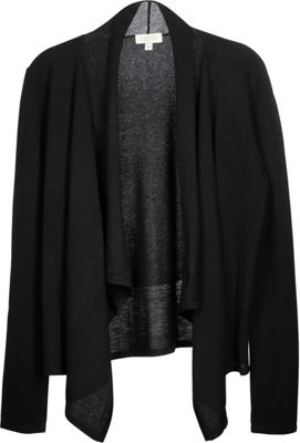 Kinross Cashmere Mixed Yarn Drape Cardigan XS - Black - Kinross Cashmere Women's Apparel