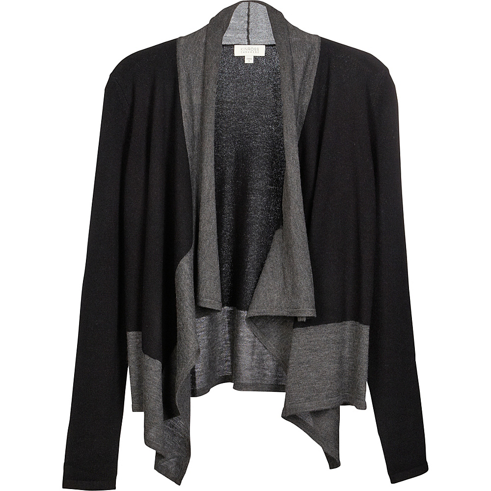 Kinross Cashmere Mixed Yarn Drape Cardigan XS - Black/Charcoal - Kinross Cashmere Womens Apparel - Apparel & Footwear, Women's Apparel