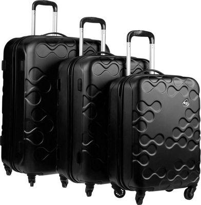 Kamiliant Harrana 3 Piece Hardside Spinner Luggage Set Black - Kamiliant Luggage Sets