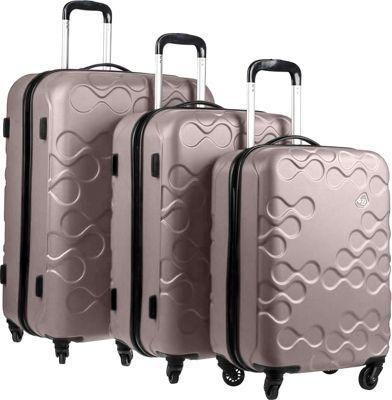 Kamiliant Harrana 3 Piece Hardside Spinner Luggage Set Ivory Gold - Kamiliant Luggage Sets