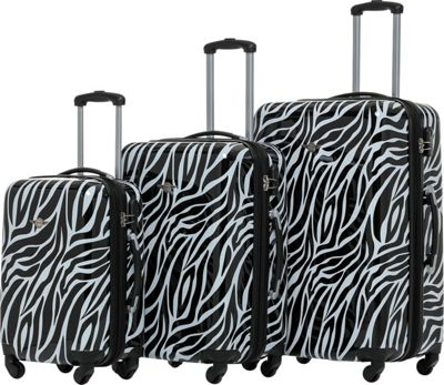 Rivolite Zebra 3 Piece Expandable Hardside Spinner Luggage Set Zebra - Rivolite Luggage Sets