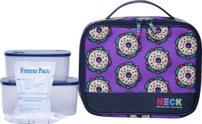 Ed Heck Luggage Everything Bagel Flat Lunch Tote Purple - Ed Heck Luggage Travel Coolers