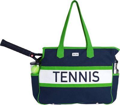 Ame & Lulu Tennis Varsity Court Bag Navy/Green - Ame & Lulu Racquet Bags